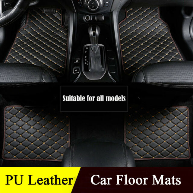 Luxury Pu Leather Car Floor Mats Universal Auto Carpet Mat Protect
