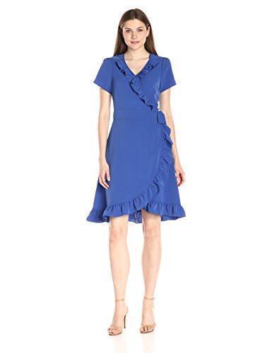 New Lark /& Ro Women/'s Short-Sleeve Ruffle Wrap Dress,Marine,Size SMALL,Polyester