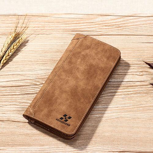 Men Bifold Leather Pocket Card Holder Purse Suit Long Wallet Checkbook R