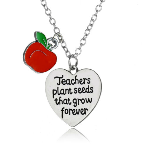 Necklace With Apple Thank You Gift Charm Teachers Presents Heart Pendant Charm