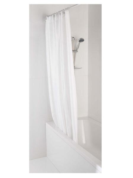 AKW 24078 Individual White Shower Curtain 1800mm Wide x 2000mm Drop BNIB