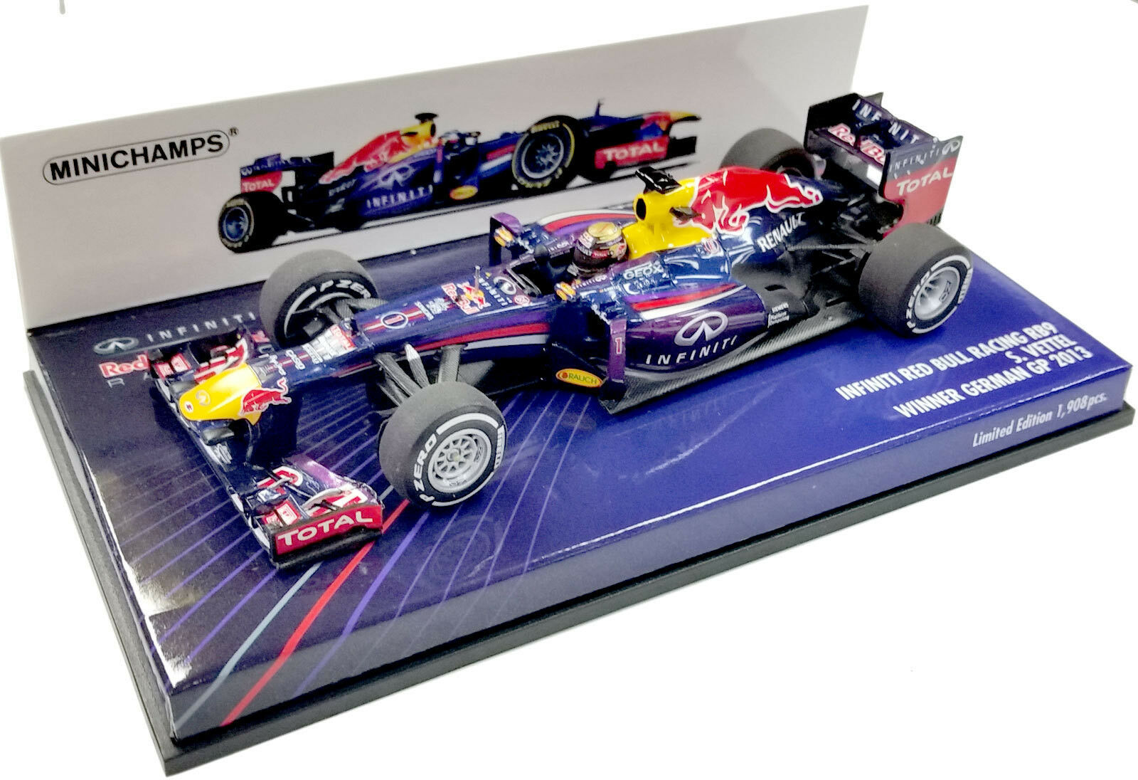 MINICHAMPS 1 43 2013 INFINITI RED BULL RB9 GERMAN GP SEBASTIEN VETTEL 410130101