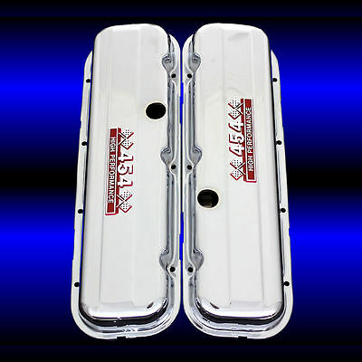 Tall Valve Covers For 454 Chevy Engines Chrome With 454 Emblems BBC