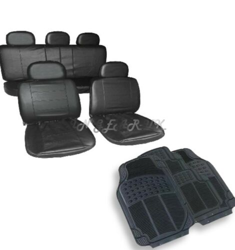 black Leather Look Car Seat Cover Rubber Mats Custom Interior Set Universal Taxi