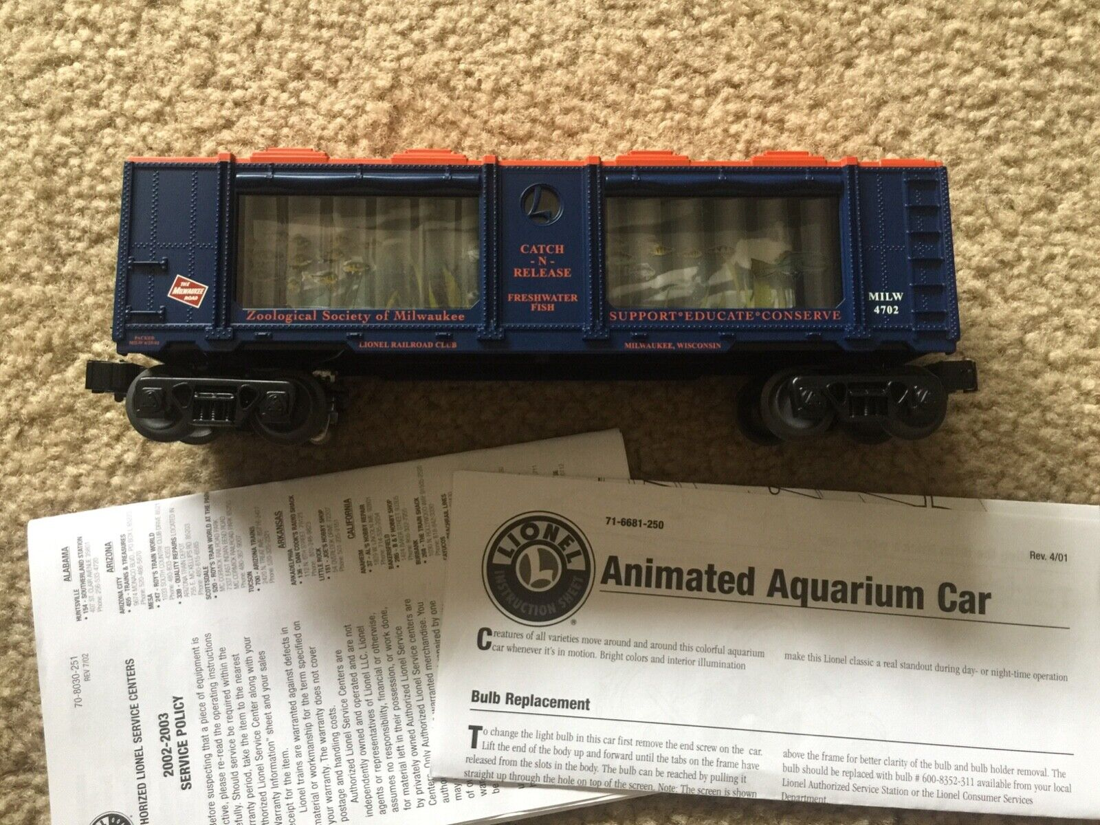 LIONEL MILWAUKEE LRRC CATCH & RELEASE FRESHWATER FISH MILWAUKEE ROAD 6-52278