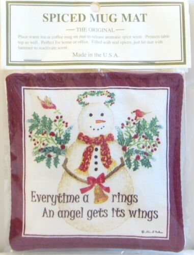 Alice/'s Cottage Cotton Scented Spiced Mug Mat Coaster Holiday Snow Angel Wings