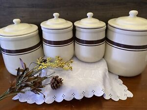 Vintage 1970s McCOY POTTERY SET OF 4 Tan Brown STRIPED CANISTERS for Kitchen