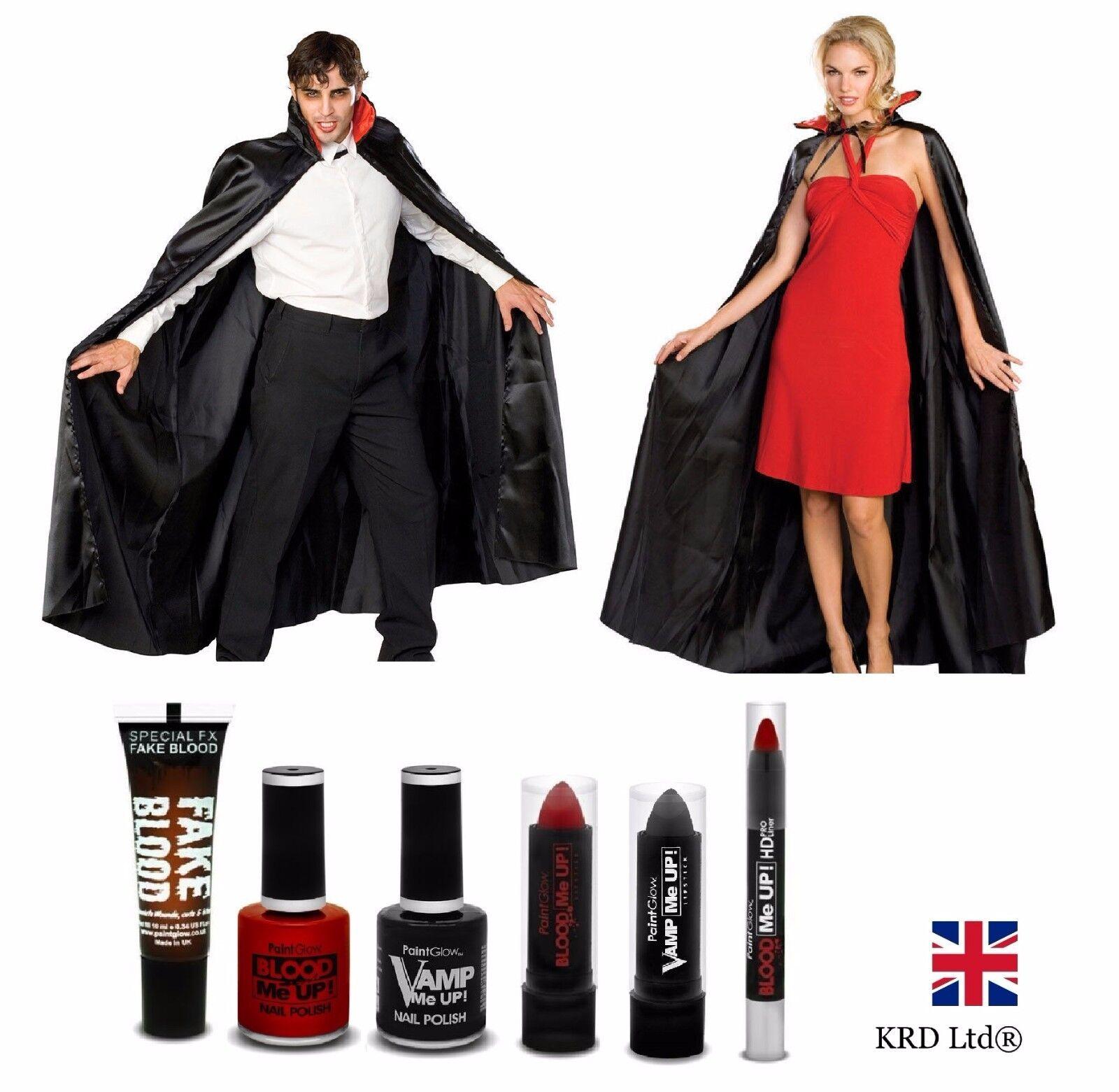 Adult VAMPIRE DRACULA Halloween Party Fancy Dress Cape COSTUME + ...