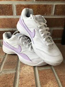 195d68f4979c NIKE Womens COURT LITE Size 9 White Purple Swoosh Tennis Sneakers ...