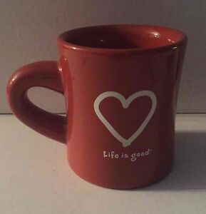 Life-Is-Good-Mug-Ceramic-Rust-Cup-Like-What-You-Do-Affirmation-Heart