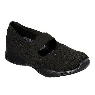 Details about Womens 6 Skechers Go Walk Lite Cutesy 15407BBK Black Mary Janes Slip On Comfort