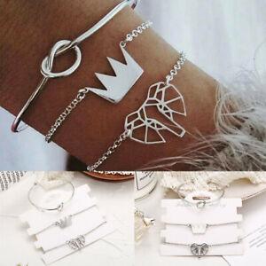 Fashion-3Pcs-Set-Women-Silver-Crown-Knot-Elephant-Bangle-Chain-Bracelets-Jewelry
