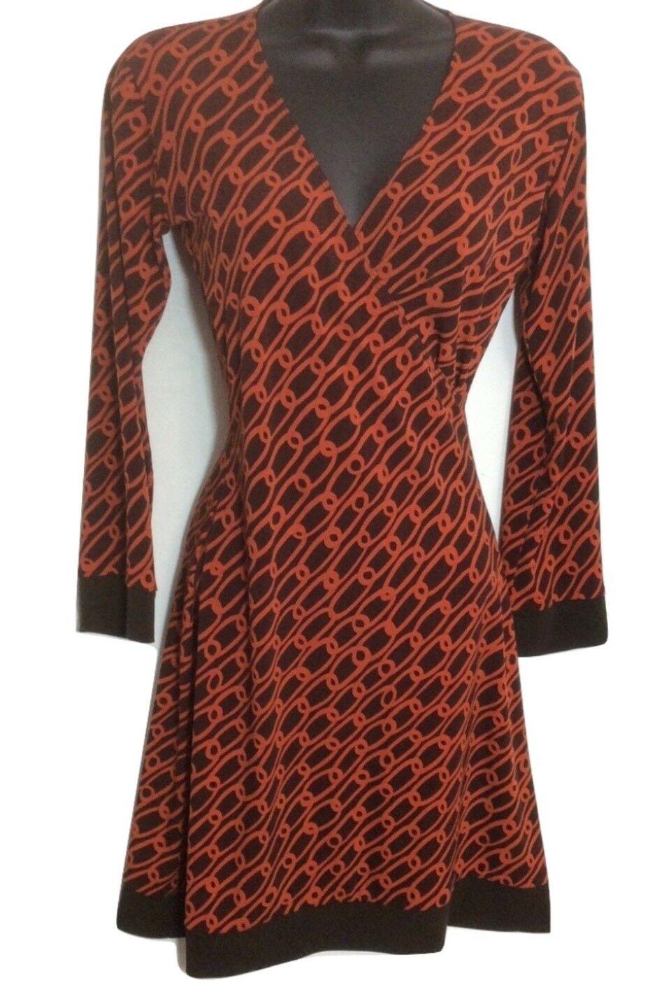 Huminska NY Faux Wrap Dress Size 0 Paper Clip Print orange Brn Tiny Defect