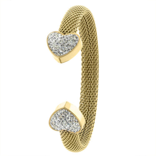 Stainless Steel Mesh Cuff Bangle Bracelet w// CZ Stones Heart Ends Gold Tone