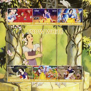 Chad-2017-MNH-Snow-White-6v-M-S-Disney-Cartoons-Stamps