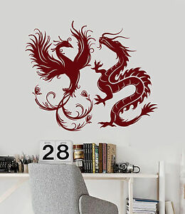 Vinyl Wall Decal Dragon Phoenix Bird Fantasy Asian Style Stickers - Vinyl wall decals asian