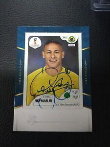 2018-19 Panini TREBLE Soccer World Cup Sticker NEYMAR JR on card AUTO Autograph