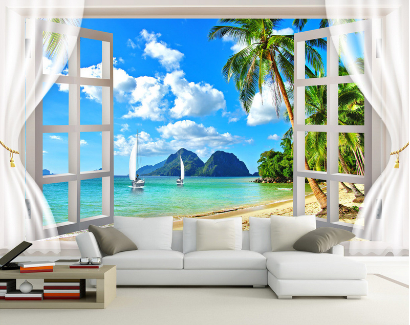 3d Seaview Window 83 wandpaper Mural wandpaper wandpaper Picture Family De Summer