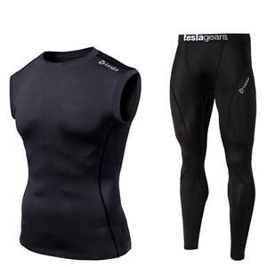 Mens-Compression-Black-Sleeveless-Pants-Set-Gym-Baselayer-Skins-Fitness-Tesla