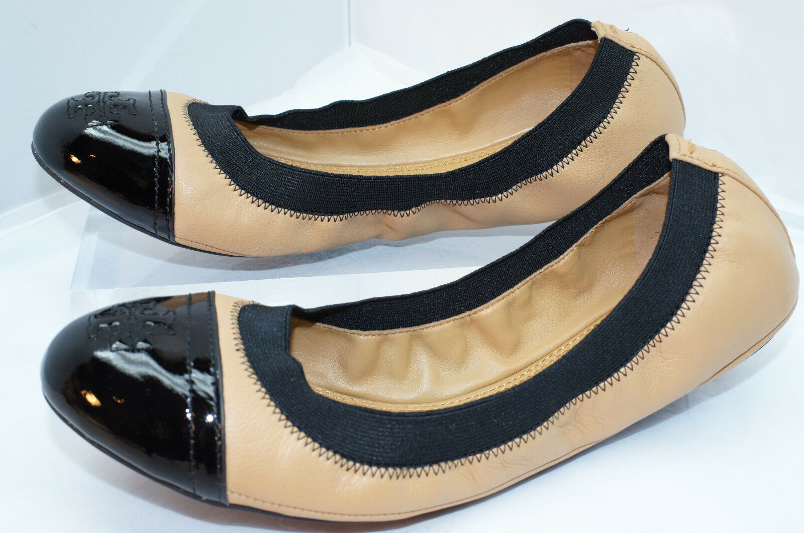 New Tory Burch Gabby shoes shoes shoes Flats Ballet Size 6.5 Black Mushroom Leather e529b8