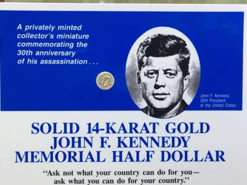 Kennedy Memorial Half Dollar Commemorative Medal Token 14k Yellow Gold John F
