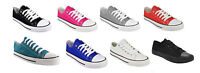 NEW LADIES WOMENS FLAT LACE UP PLIMSOLLS PUMPS CANVAS TRAINERS SHOES ALL UK SIZE