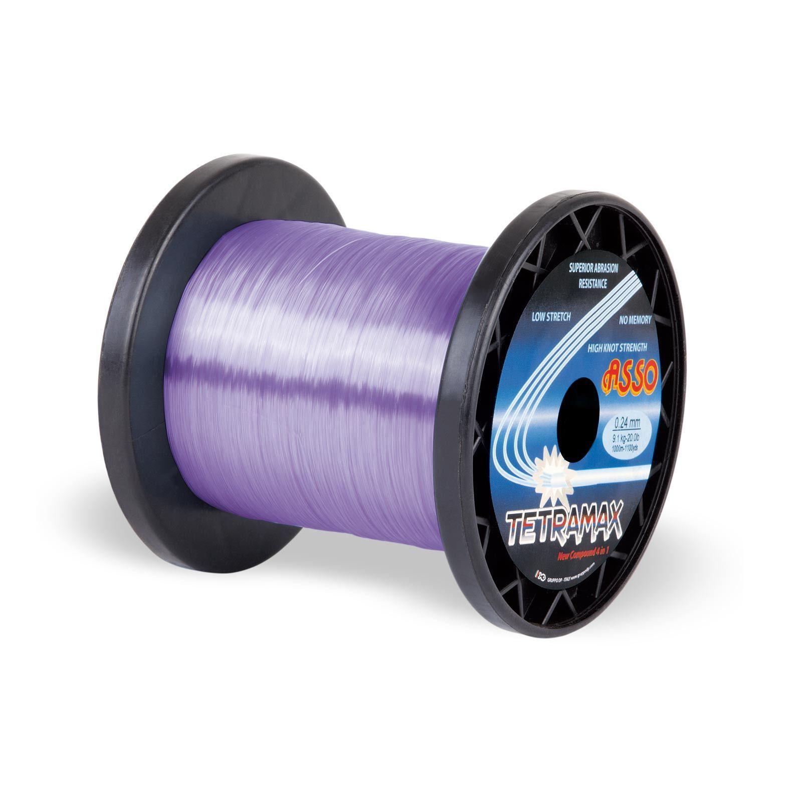 (0,05EUR m) ASSO Monofile Angelschnur Tetramax Mono 1000m 0,35mm 8,50 kg Purple