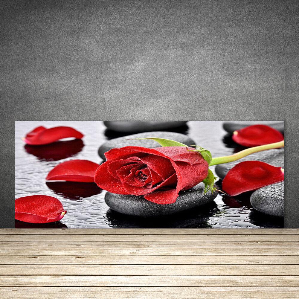 Crédence de cuisine en verre Panneau 125x50 Floral Rose Pierres
