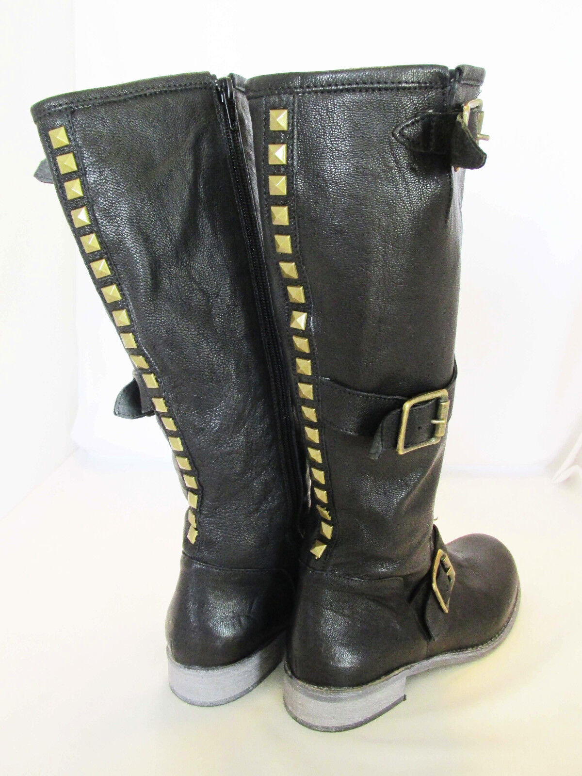 CORDANI Black Leather Brass Studded Knee High Boots, Boots, Boots, Straps US 7.5 EU 37.5 051980