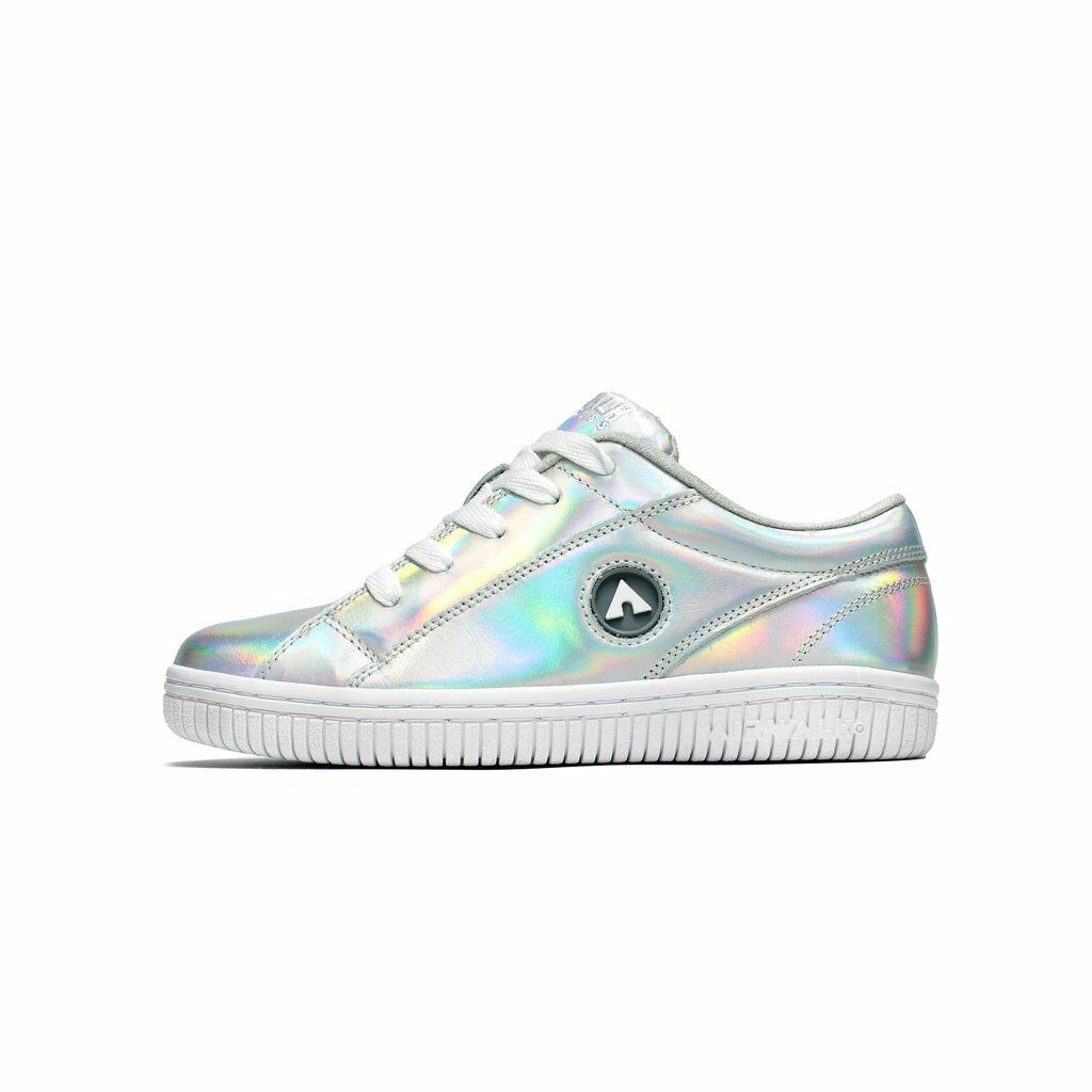 NEW Airwalk Classics The One Silver Reflective Leather Holographic Sneakers 9 39