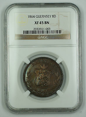 Coins & Paper Money Rapture 1864 Guernsey 8 Doubles Coin Ngc Xf-45 Bn Akr Discounts Sale