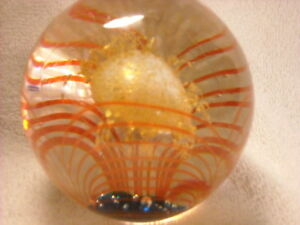 3-1-2-Magnum-Art-Glass-Paperweight-Curved-Red-Lines-Gold-Monster-in-Center