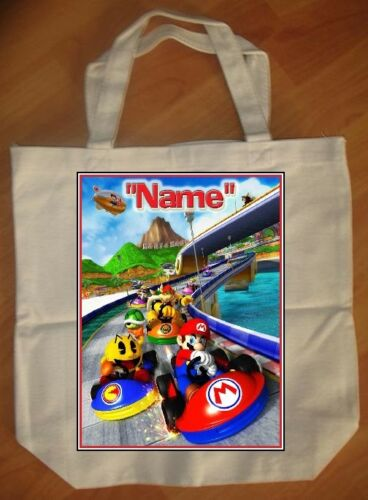 """NEW /""""Mario Kart/"""" Custom Personalized Birthday Tote Bag Party Favor"""