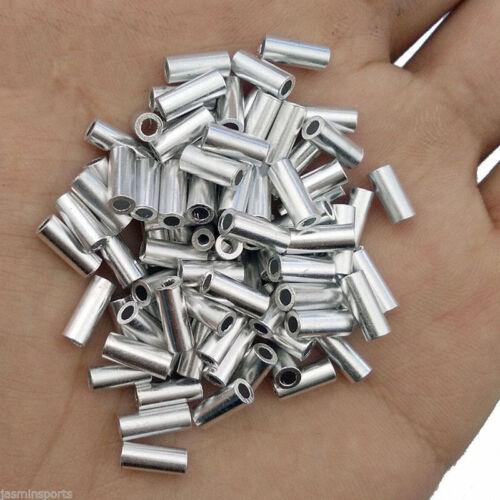 100/300Pcs Single Aluminum Alloy Crimp Sleeves Round Aluminum Fishing Tubes Rigs