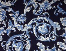 Kanvas BAROQUE SCROLL (Navy) 100% Premium Quality Cotton Fabric-Per 1/2 Yd