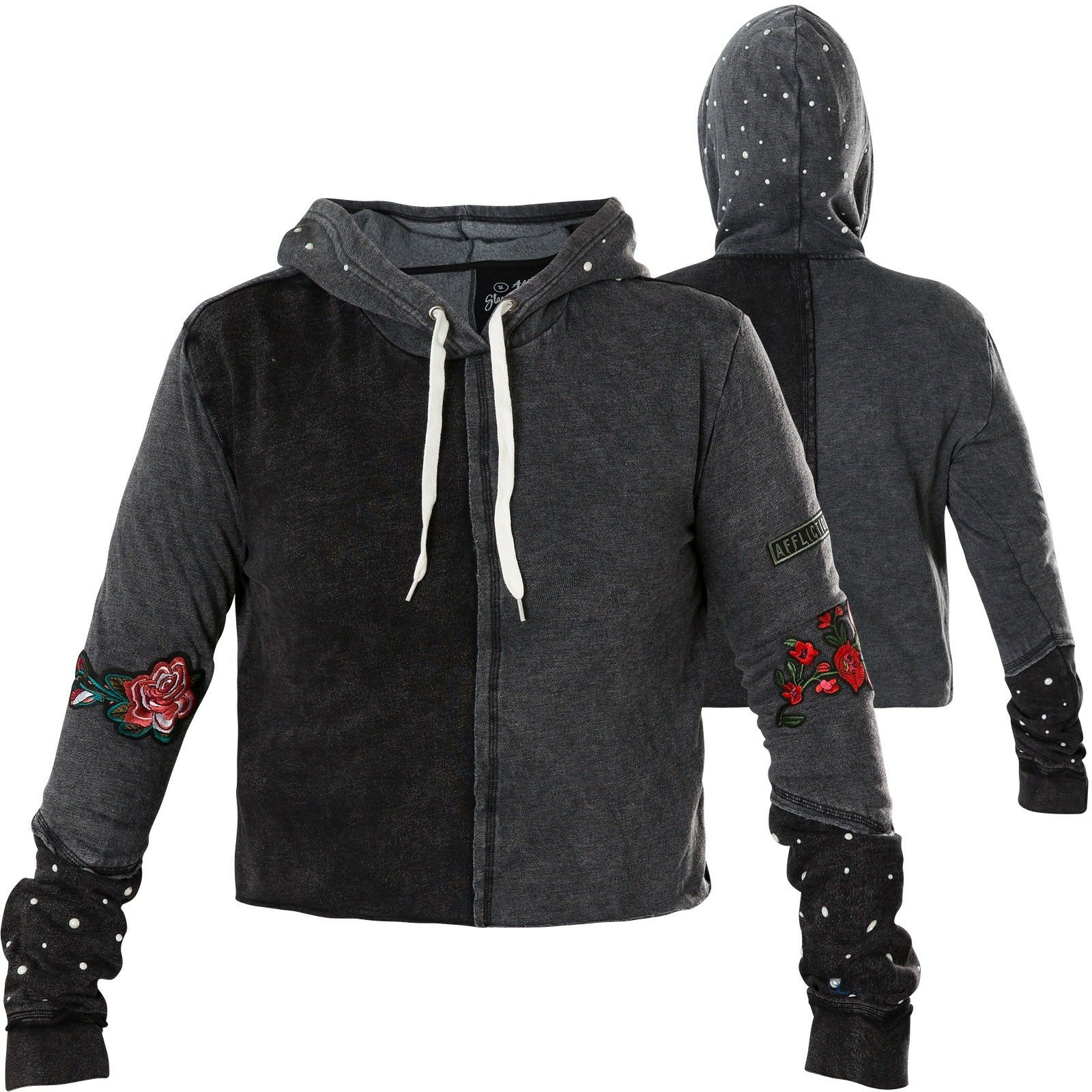 AFFLICTION Damen Hoody Standard Supply Grau Schwarz Hoodies  Sweatshirts  | Quality First  | Sorgfältig ausgewählte Materialien  | König der Quantität  | Der Schatz des Kindes, unser Glück  | Räumungsverkauf