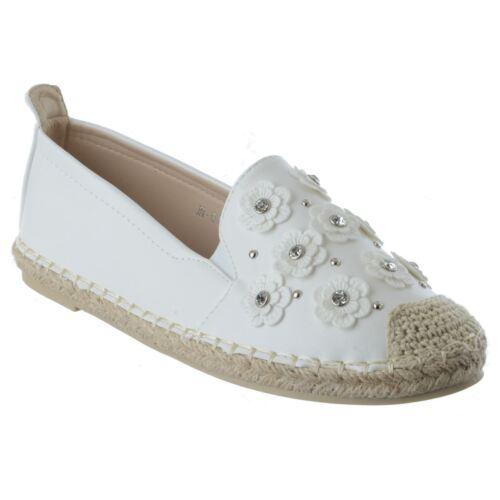Womens Ladies Slip On Flat Espadrilles Casual Summer Sandals Shoes Pumps Size