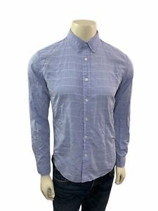 Banana-Republic-Camden-fit-homme-taille-S-manches-longues-raye-bleu-boutonne-chemise