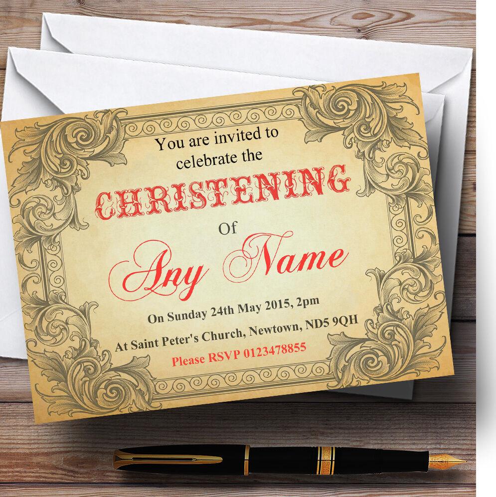 Typographie Vintage Red CARTE POSTALE baptême party party party invitations personnalisées adfbfa