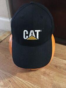 Caterpillar Ball Cap Hat black Cat logo fabric strap w ...