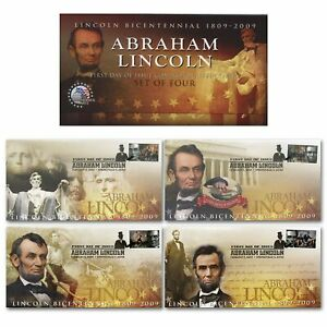 PRESIDENT-LINCOLN-Bicentennial-2009-First-Day-Issue-Stamps-Postmark-Envelope-S-4