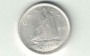 CANADA-1942-TEN-CENTS-DIME-KING-GEORGE-VI-800-SILVER-COIN-CANADIAN