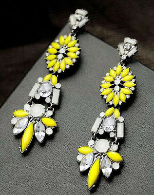 New Design Yellow Resin Leaf Crystal Flower Long Dangle Statement Earring Stud