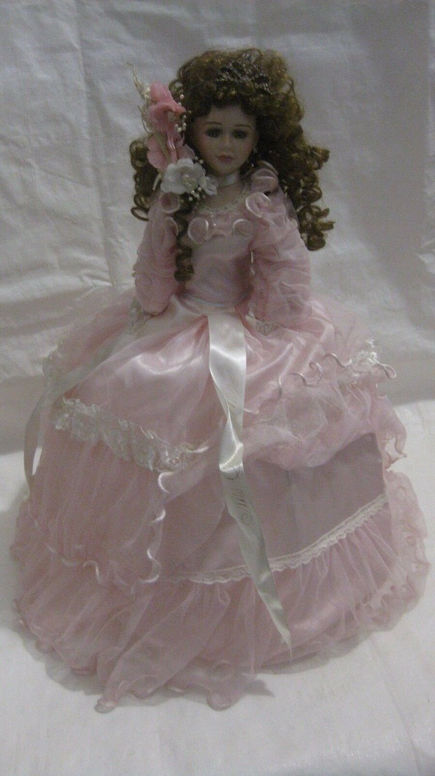 Rare Collectible Porcelain Doll 24in. Cathay Collection In A Pink Umbrella Dress