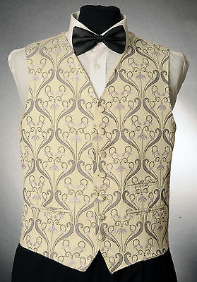 100% QualitäT W - 1056.mens And Boys Cream And Lilac Floral Waistcoat Wedding/ Dress/ Formal Billigverkauf 50%