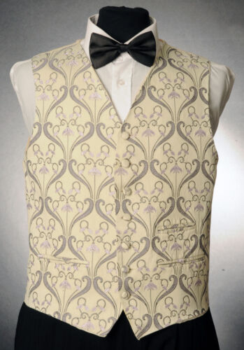 W 1056.MENS AND BOYS CREAM AND LILAC FLORAL WAISTCOAT WEDDING// DRESS// FORMAL