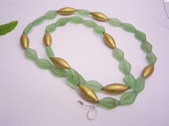 PARACAOS KETTE   HALSKETTE  ca 110 cm lang  green & gold-FARBENES GLAS  STAHLSEIL