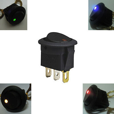 20pcs Led Dot Light 12V Car Auto Round Rocker ON/OFF Toggle SPST Switch