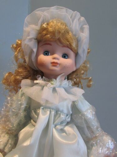 "Fine porcelain 12"" camelot ""TRICIA"" blonde curls blue eyes doll wbox"