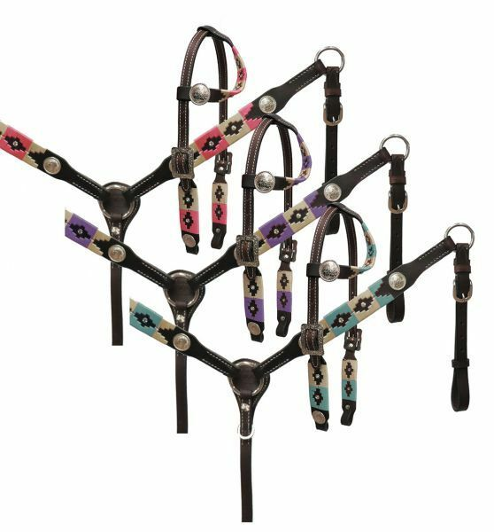 Showman PONY Leather Bridle Breast Collar-Set w PURPLE-PINK or TEAL Embroidery